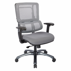 vertical grey mesh back chair with titanium base and steel mesh seat