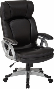 Office Star Work Smart Executive Chair Silver Black Bonded Leather Ech70756 Ec3
