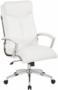 executive faux leather high back chair with padded arms and chrome