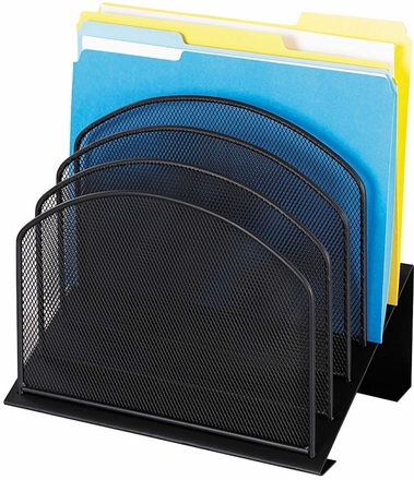 Onyx Desk Organizer 5 Tiered Sections Mesh Black 3257bl