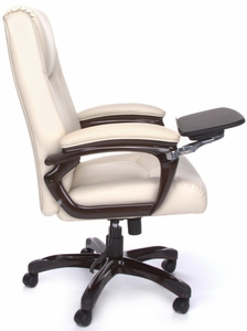 cream leather office chair | tall computer chair
