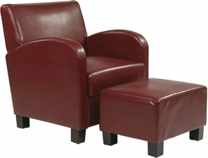 OSP Designs Crimson Red Faux Leather Club Chair with Ottoman [MET807RD]