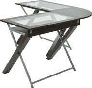 OSP Designs L-Shaped Computer Desk with Glass Top [XT25L]