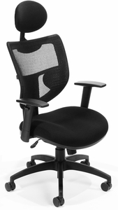 Parker Ridge Executive Mesh Back Chair with Headrest [580-BLACK]