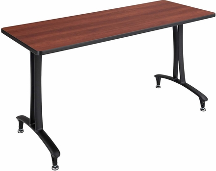 Rumba fixed t leg table with glides 60 x 24 cherry top black base 2095cybl - Table glides for legs ...