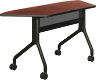 "Rumba� Table Trapezoid 60 x 24"" Cherry Top & Black Base [2040CYBL]"
