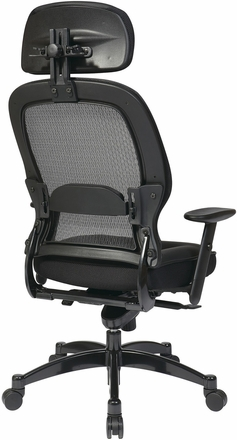 Space Seating® Black Mesh Chair with Adjustable Leather Headrest and Seat [27008]
