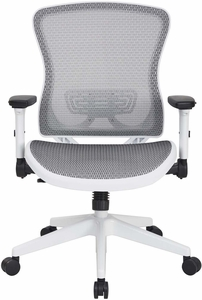 Space Seating® White Breathable Mesh Back Managers Chair [525W-W11N11F2W]