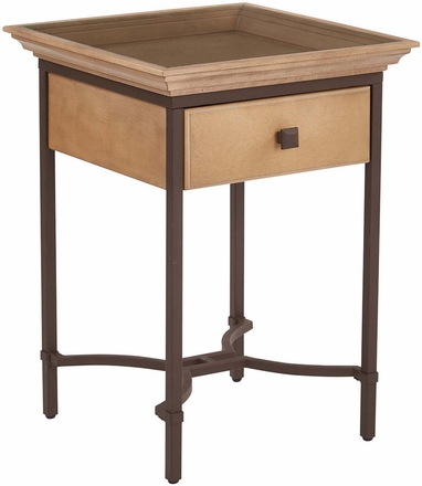 Tacoma Accent Table With Drawer Light Pine Glass Top