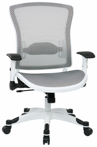 Beau Space Seating® White Frame Mesh Office Chair Flip Up Arms [317W W11C1F2W]
