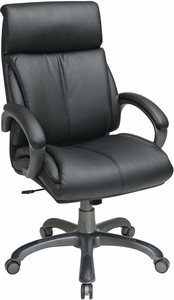 Work Smart™ Executive Black Leather Chair Locking Tilt Control [ECH68807-EC3]