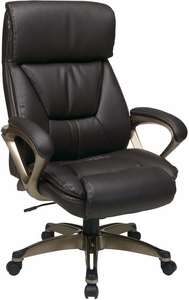 Work Smart™ Executive Espresso Leather Chair Coil Spring Comfort  [ECH89301 EC1]