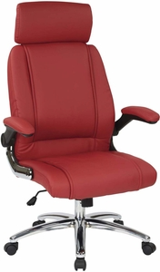 Work Smart™ Executive Red Faux Leather Chair Chrome Base [FL27513C-U9]