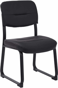 Work Smart™ Faux Leather Black Visitor Chair Sled Base [FL1033-U6]