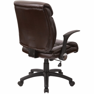 Work Smart™ Faux Chocolate Leather Managers Chair with Flip Arms [FL89675-U2]
