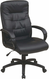 Work Smart™ High Back Black Faux Leather Executive Arm Chair [FL7480-U6]