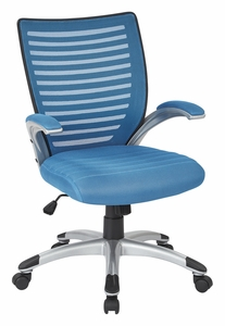 Work Smart™ Mesh Blue Back Managers Chair Padded Silver Arms [EMH69096-7]