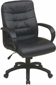Work Smart™ Mid Back Faux Leather Executive Chair Padded Arms [FL7481-U6]