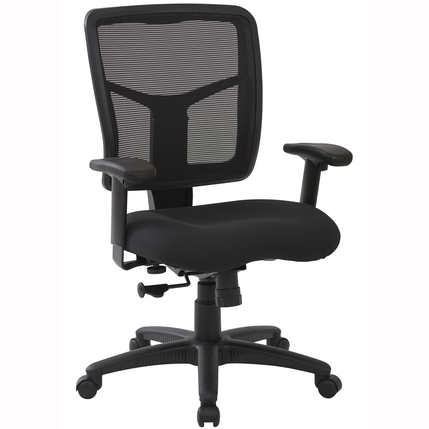 Work Smart™ Black Mesh Back, Dove Black Fabric Chair, 2-to-1 Synchro Tilt  [SPX92553]