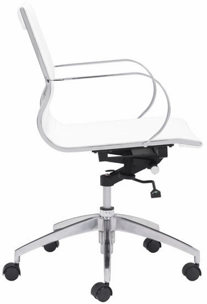 zuo glider low back office chair white leatherette 100375. Black Bedroom Furniture Sets. Home Design Ideas