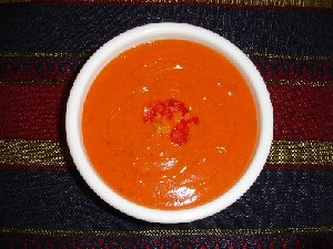 Bell Pepper and Tomato Soup with Pistou