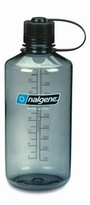 .Nalgene Tritan Narrow Mouth  32 oz. Grey Bottle w/ Black Lid