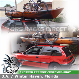1991 Honda Civic Hatchback Roof Rack Cross Bar Pads, Bike Mount and Wind Fairing