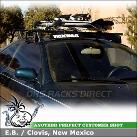 """1995 Toyota Celica Ski-Snowboard Roof Rack using Yakima Q Towers, Q11 Clips, Q Stretch Kit and 38"""" Wind Fairing"""