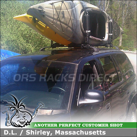 1999 Dodge Durango Kayak Carrier for Factory Rooftop Cross Bars Using Inno INA450