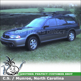 1999 Subaru Legacy Outback Roof Basket using Yakima MegaWarrior Basket Cargo Carrier