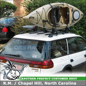 1999 Subaru Legacy Outback Roof Kayak Racks using two sets of Yakima BowDown J-Cradles on Factory Crossbars
