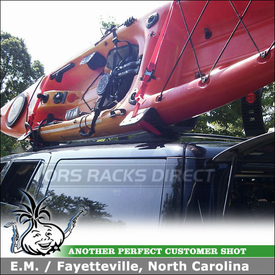 2000 Ford Expedition Kayak Roof Rack and Fishing Rod Rack using Malone AutoLoader J-Cradles & Inno ZR353 Fishing Rods Holder