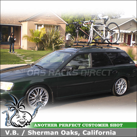2000 Subaru Legacy Wagon Factory Rack Mount Bike Rack with Thule 532 Ride-On Adapter Kit