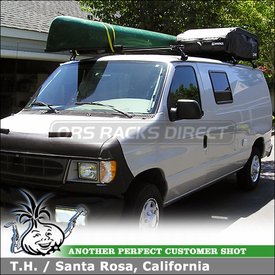 2001 Ford Econoline 250 Van Roof Rack Cargo Bag & Canoe Pads using Inno IN-AD RainGutters Rack, BRA120 Cargo Bag & Canoe Pads