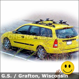 2001 Ford Focus Wagon Roof Rack with Thule 450 CrossRoad System & 881 Top Deck Kayak Rack