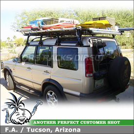2001 Land Rover Discovery II Roof Rack Cargo Carrier using Two Inno IN-MD RainGutters RoofRack Systems