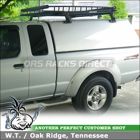 2001 Nissan Frontier Camper Shell-Truckbed Topper Rack Basket & Bike Rack using Yakima 1A Towers & Side Loader Brackets, CopperHead & Gear Basket