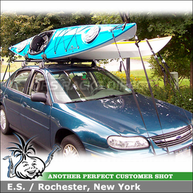 2002 Chevy Malibu Roof Rack for 2 Kayaks with Yakima Q Towers, Q87 Clips & HullRaiser J-Cradles