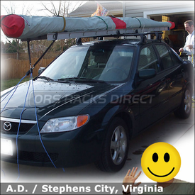 2002 Mazda Protege Car Rack for Hang Glider with Yakima Q Tower System & Load Stops