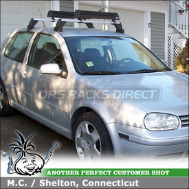 2002 VW GTI Snowboard-Ski Rack using Thule 91725b Mounted On VW GTI OEM Roof Rack