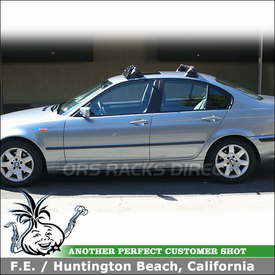 "2003 BMW 325i Roof Rack Wind Fairing System using Yakima Control Towers, #11 Landing Pads & 44"" Noise Deflector"