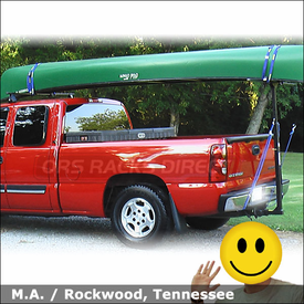 2003 Chevy Silverado Truck Rack for Canoe with Thule 400XT Half Pack, 997 Goal Post & 579XT Canoe Carrier