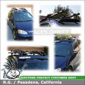 2003 Honda Civic LX Roof Rack and Bike Racks with Yakima Control Towers, LP7 Landing Pads, 2 Yakima High Roller Bicycle Carriers & Fairing
