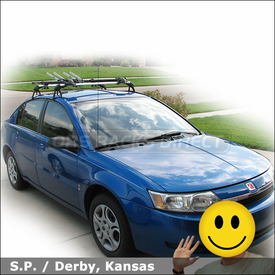 2003 Saturn Ion Roof Rack for Bikes with Sportrack ABR622 Nomad Bike Racks & Thule 593 Wheel Holders