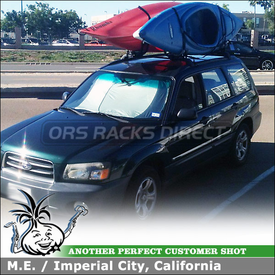 2003 Subaru Forester Kayak Racks for Carrying 2 Kayaks on Genuine OEM Roof Rack Crossbars