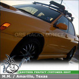 2003 Subaru Impreza WRX Ski-Snowboard Roof Rack using Yakima Q Towers, Q78 Clips, PowderHound & Fairing