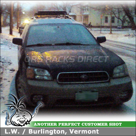 2003 Subaru Outback Factory Rack Mount Ski Rack using Thule 91725b Flat Top Ski-Snowboard Rack