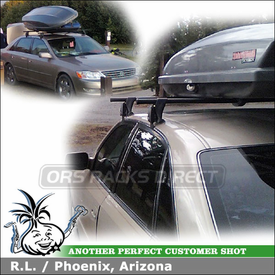 2003 Toyota Avalon Roof Rack Luggage Box with Yakima Q Towers & Q13 Clips and SkyBox Pro
