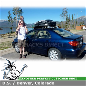 2003 Toyota Corolla Car Rooftop Luggage Cargo Bag using Thule 630 Ranger 90 Bag Mounted to Roof Rack