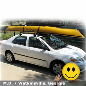 2003 Toyota Corolla Roof Rack for Kayak with Yakima Q Tower System, Wind Fairing & Kayak Straps
